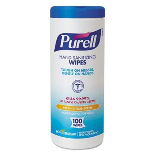 "PURELL Premoistened Sanitizing Wipes, Cloth, 5.78"" x 7"", 100/Canister"