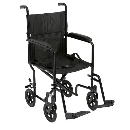 Lightweight Transport Chair Aluminum Frame with Black Finish 300 lbs. Weight Capacity Fixed Height / Padded Arm Black Upholstery