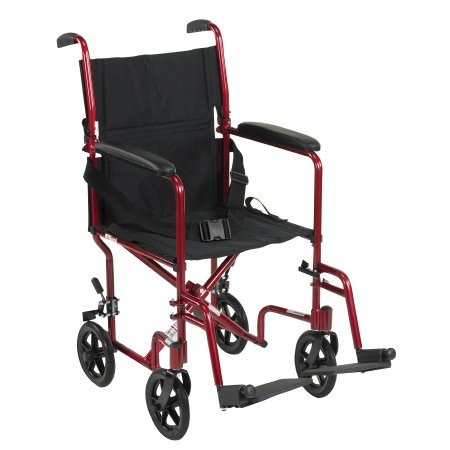 Lightweight Transport Chair Aluminum Frame with Red Finish 300 lbs. Weight Capacity Fixed Height / Padded Arm Black Upholstery