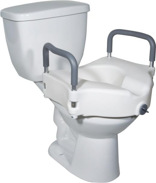 2-in-1 Locking Raised Toilet Seat with Tool-free Removable Arms - MedixSource