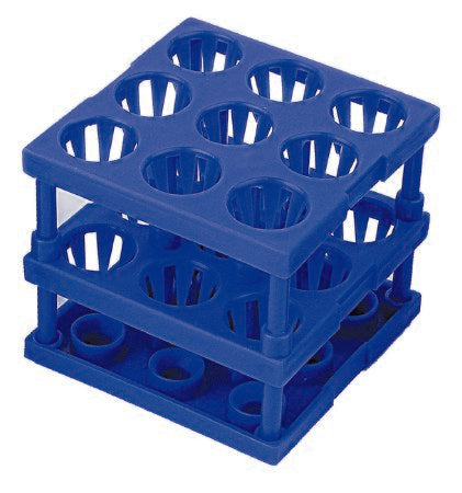 Tube Cube Rack McKesson 9 Place 8 - 16 mm Tube Size Blue 3 X 3 X 3 Inch