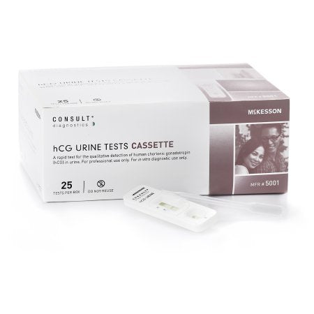 Rapid Test Kit McKesson Consult™ Fertility Test hCG Pregnancy Test Urine Sample 25 Tests
