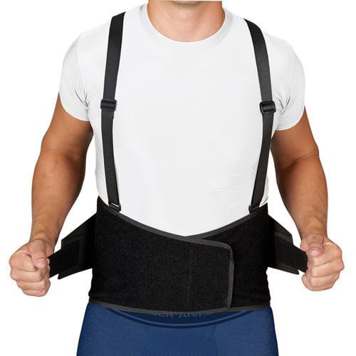 BlueJay Industrial Back Support w/Suspenders - Black - MedixSource