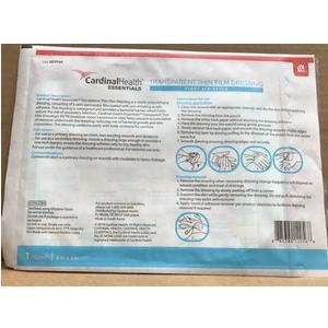 "Cardinal Health Essentials™ Sterile Latex-Free Transparent Thin Film Adhesive Dressing, 6"" x 8"" - Box of 10"