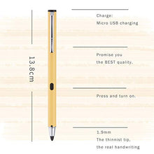 [iBiopen] Sense Plus V2 - Stylus with Fine, Adjustable Carbon Fiber Tip, Comfortable Satin Finish, All Metal Body and USB Charging - for Android, iPhone, iPad, Smartphones and Tablets (Yellow)