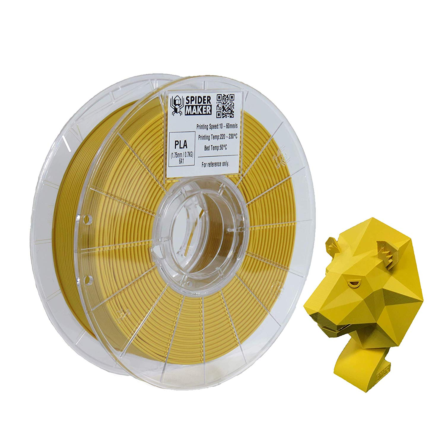 [SpiderMaker] 3D Printer PLA Filament - Matte Finish with Incredible Vibrant Colors - 700g