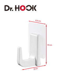 [Dr. Hook] Self Adhesive Hooks - Large Stick-On Hooks - Heavy Duty Wall Hooks - Hangers for Keys, Coats, Towels - Bathroom Hooks - Self Adhesive - Damage-Free- Traceless - Waterproof - Pack of 4