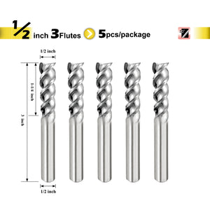"[SPEED TIGER] IAUE Carbide End Mill for Aluminum - 3 Flute - Shank 1/2"" - 5pc"