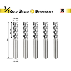 "[SPEED TIGER] IAUE Carbide End Mill for Aluminum - 3 Flute - Shank 3/16"" - 5pc"