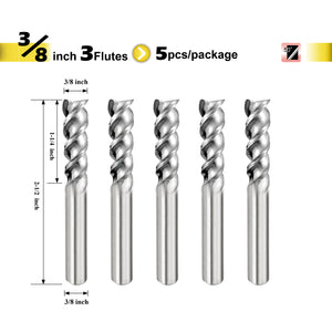 "[SPEED TIGER] IAUE Carbide End Mill for Aluminum - 3 Flute - Shank 3/8"" - 5pc"