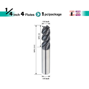 "[Speed Tiger] IPVE Carbide End Mill for Stainless Steel - Shank 1/4"" - 1pc"