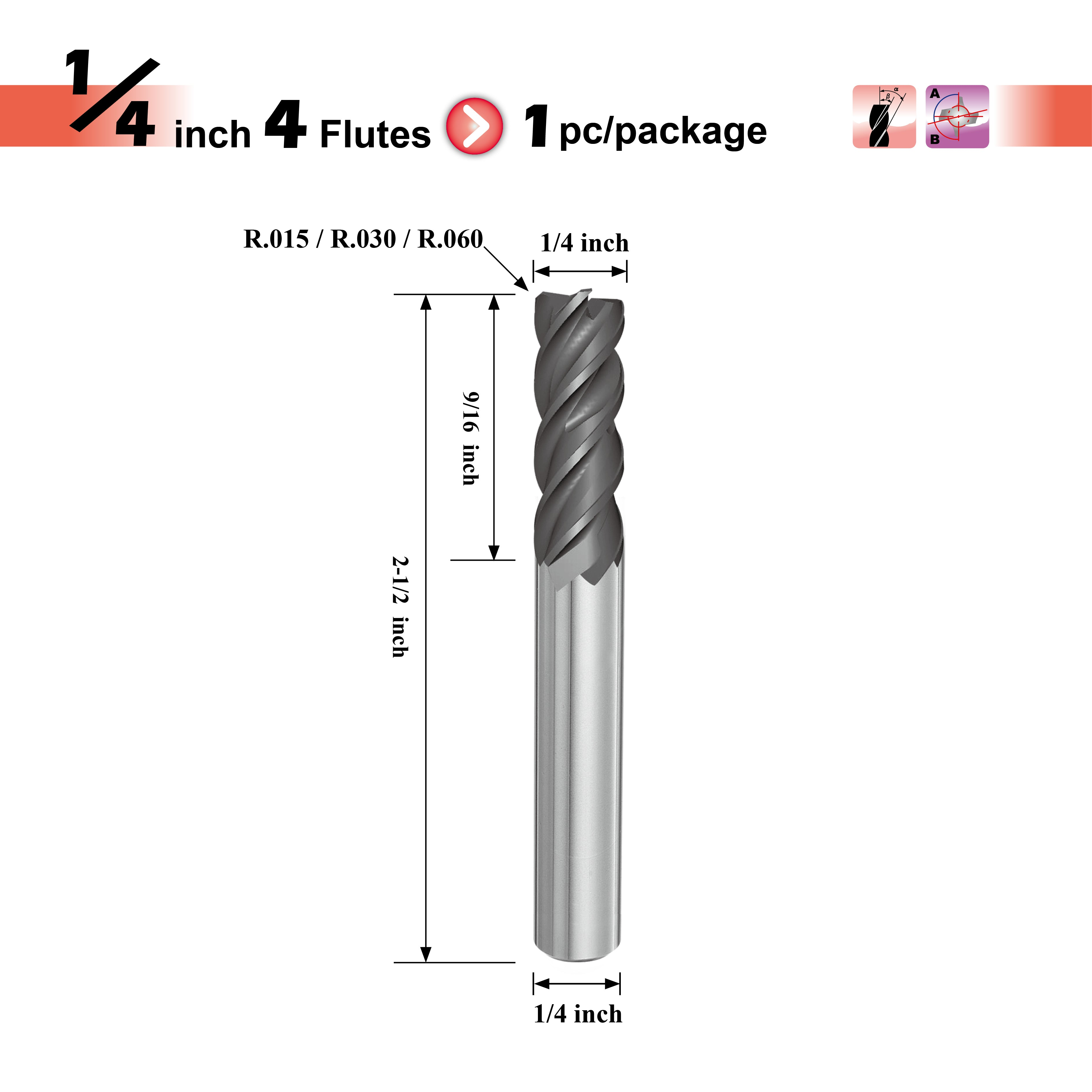 [Speed Tiger] IPVR Carbide Corner Radius End Mill for Titanium - R0.015, 1/4""