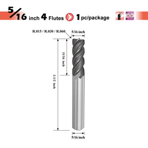 [SPEED TIGER] IPVR Carbide Corner Radius End Mill for Titanium - Unequal Flute Spacing and Helix Design - 4 Flute - Fractional