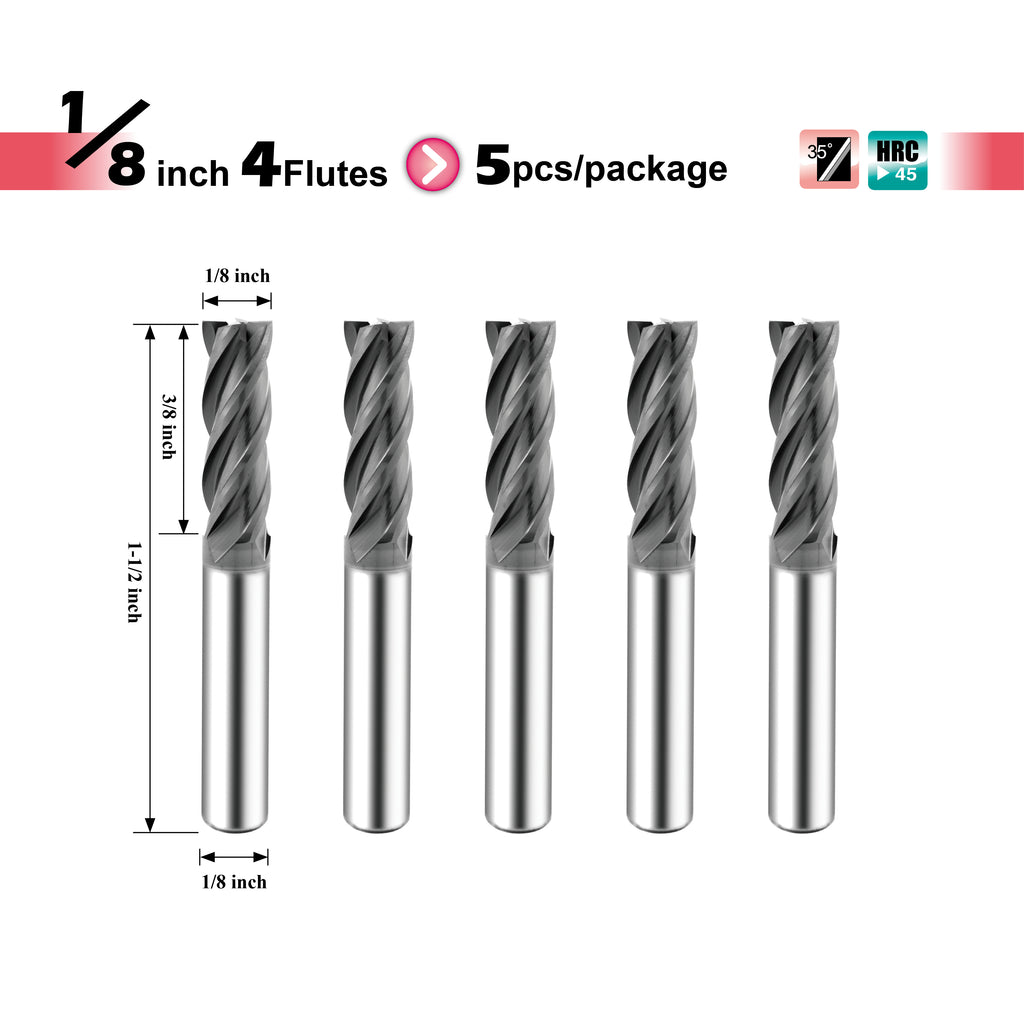 [SPEED TIGER] ISE Carbide Square End Mill - Micro Grain Carbide End Mill for Alloy Steels / Hardened Steels - AlTiBN Coating - 4 Flute - Fractional