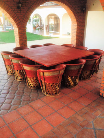 Dining Set with Large Table & 12 chairs, Cancún Tequila Collection, Equipales