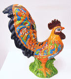 Talavera Ceramic Rooster with Large Tail,  Decorative Figure