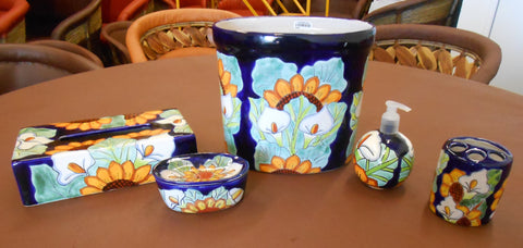 Talavera Ceramic Bathroom Decor & Accessories Set, 5-piece
