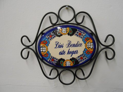 Talavera Oval Wall Sign with Iron Mount,