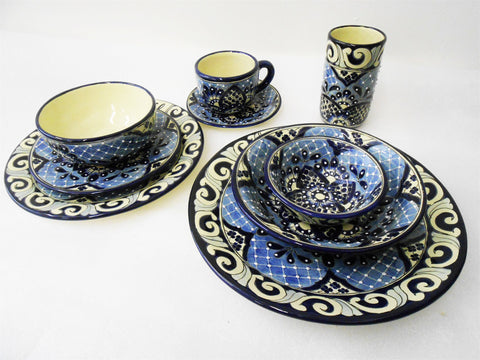 Talavera Ceramic Dishware, Fine China, 6-person set: 65 pieces