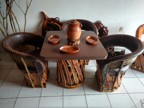 Dining Set, Custom Made w/Stitching, 4-chairs and table