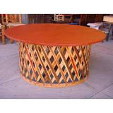 Dining Set with Large Round Table & 8 Chairs, Cancun Tequila Collection, Equipales