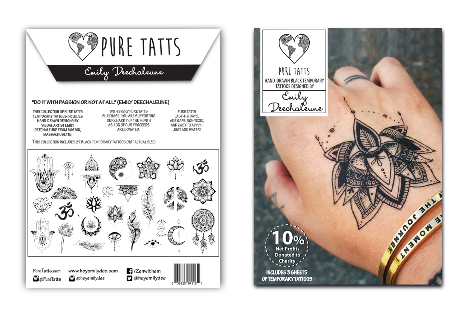 Hand Drawn ~ Special Edition Matte black Tats by Emily Deechaleune - Pure Tatts