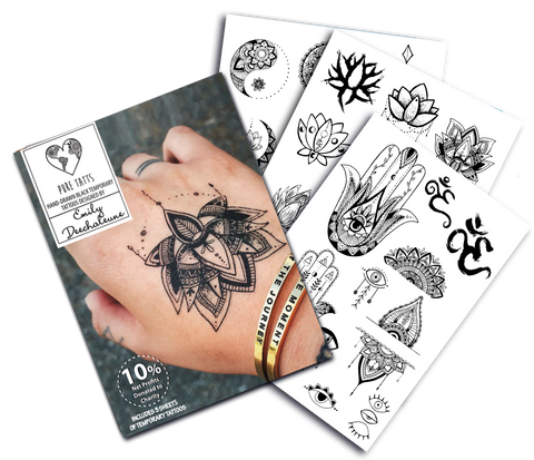 Hand Drawn ~ Special Edition Matte black Tats by Emily Deechaleune