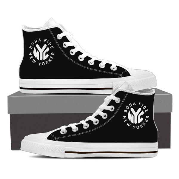 BFNY Logo'd High Top Sneakers (Black and White)
