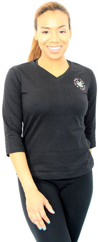 3/4 Sleeve V-Neck T-Shirt With Embroidered Logo