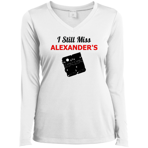 I Still Miss Alexander's Ladies' LS Performance V-Neck T-Shirt 2