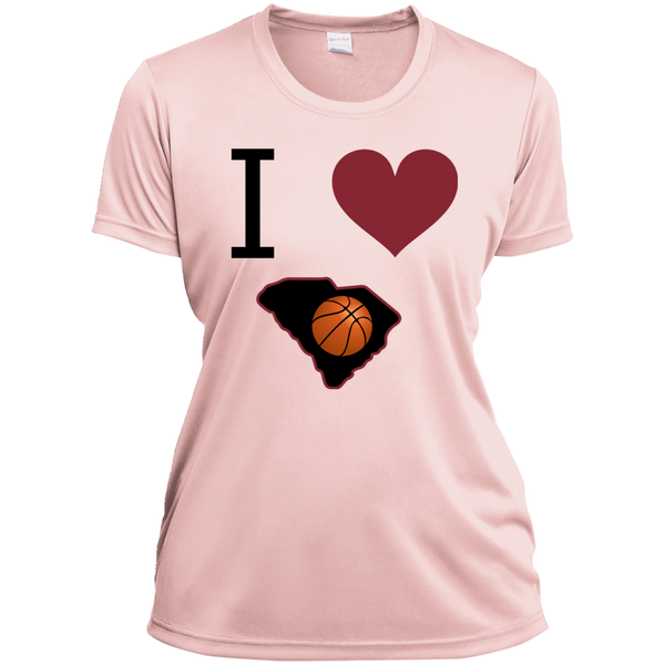 Ladies' Moisture-Wicking I Love SC Basketball Tee