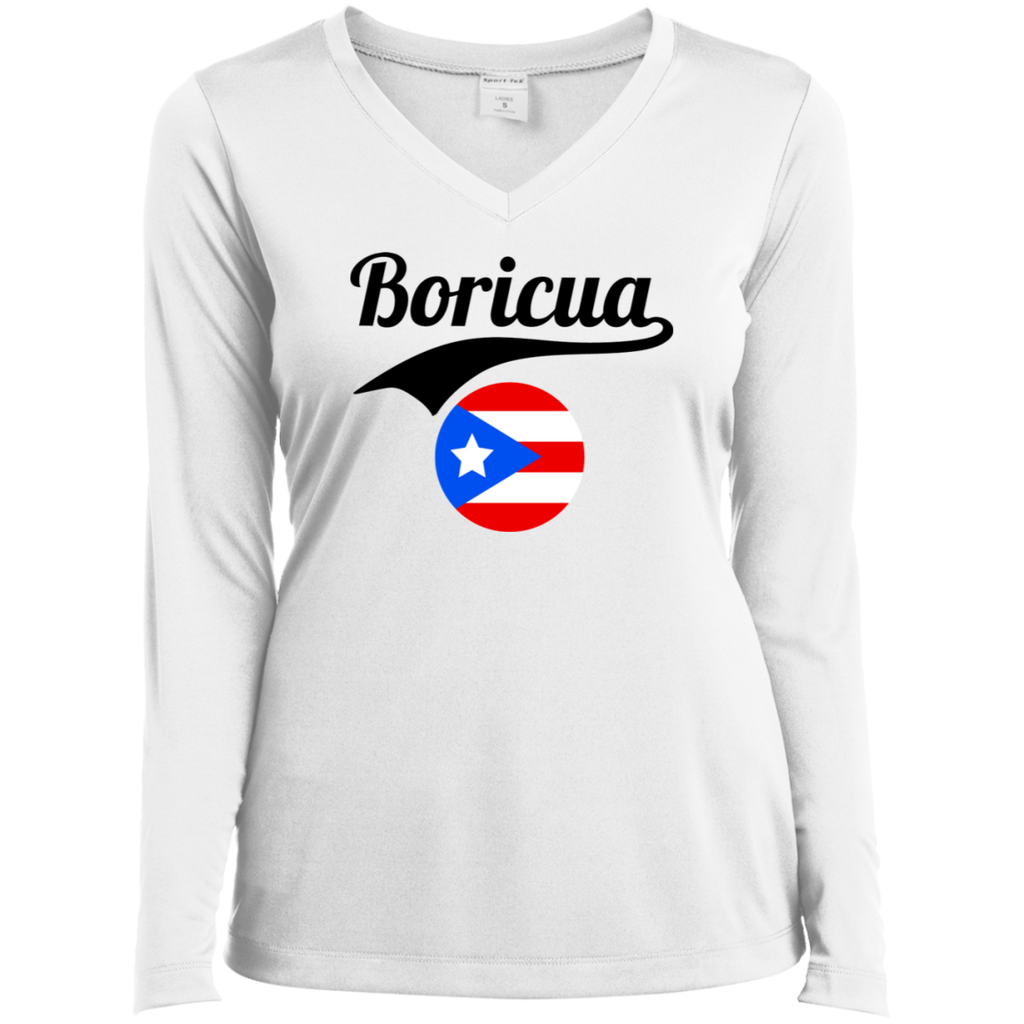 Boricua Ladies' LS Performance V-Neck T-Shirt
