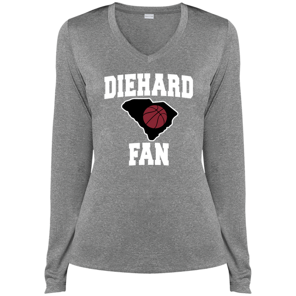 Sport-Tek S. Carolina BBall Diehard Fan Ladies' LS Heather Dri-Fit V-Neck T-Shirt