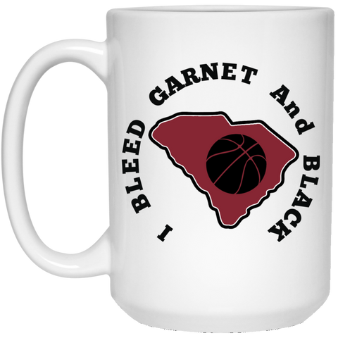 15 oz. White S. Carolina I Bleed Garnet And Black Mug