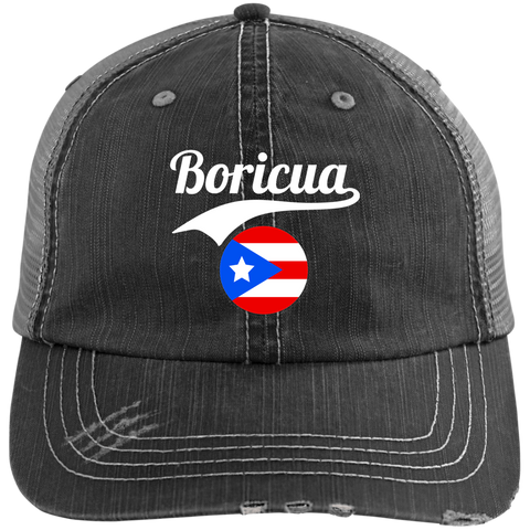Boricua Distressed Unstructured Trucker Cap