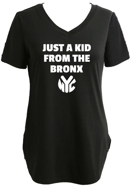 Longline Tee/Tunic With Just A Kid From The Bronx Graphic