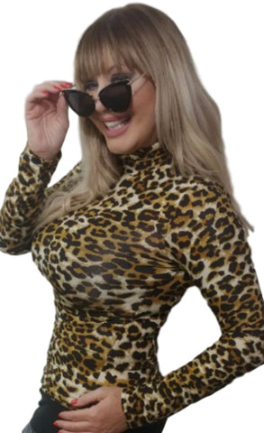 High/Turtle Neck Leopard Print Top