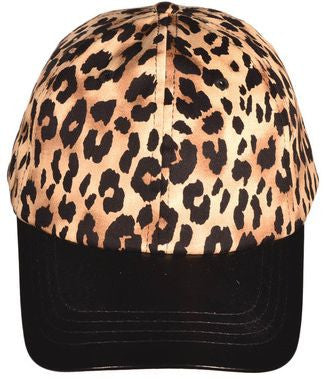 Leopard Print Leather Bill Baseball Cap