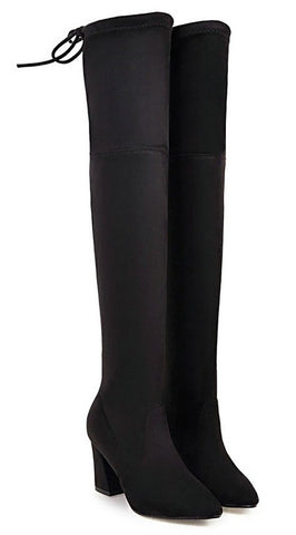 Thigh High Flock Leather Boots
