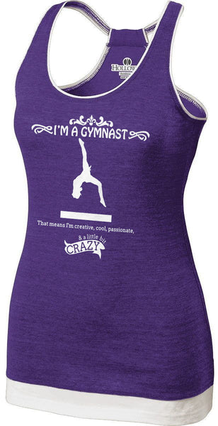 Gymnastics-Themed Vintage Heather Racerback Tank Top