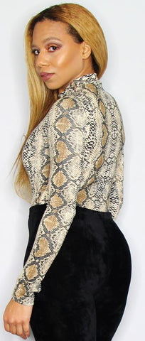 High/Turtle Neck Snake Print Bodysuit