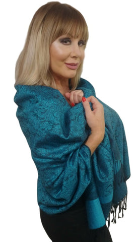 Pashmina (Synthetic)/Silk Blend Paisley Design Shawl
