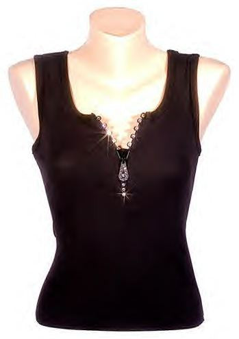 Swarovski Crystalized Zipper Tank Top