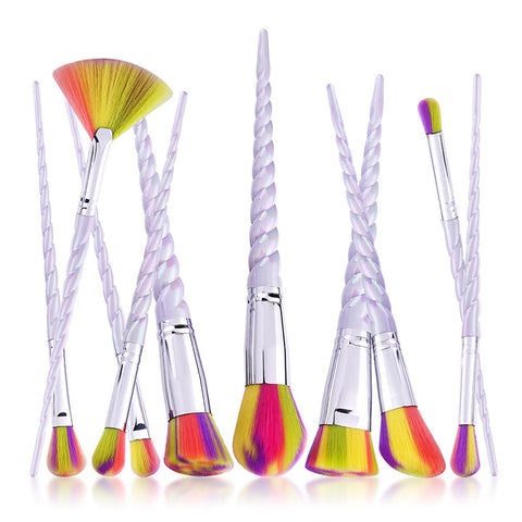 Image of 10pcs Rainbow Unicorn Handle Makeup Brush Set Virtual Glam Shop