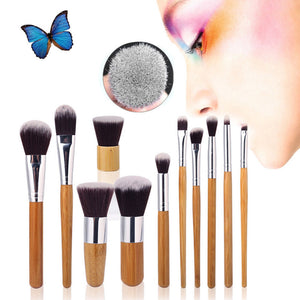 11Pcs Bamboo Handle Makeup Brush Set