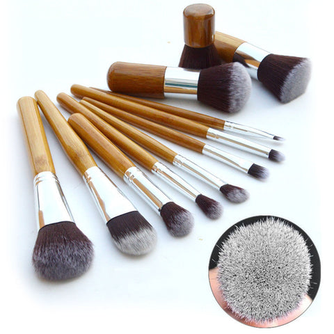 11Pcs Bamboo Handle Makeup Brush Set Virtual Glam Shop