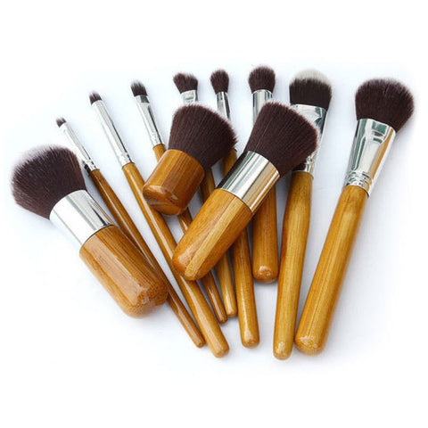 Image of 11Pcs Bamboo Handle Makeup Brush Set 11Pcs Bamboo Handle Makeup Brush Set Virtual Glam Shop