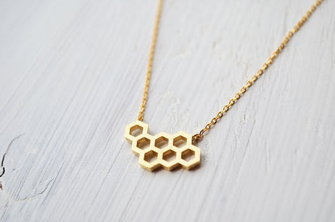 Image of The Beehive Necklace Gold Virtual Glam Shop