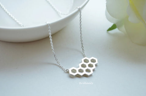 Image of The Beehive Necklace Silver Virtual Glam Shop