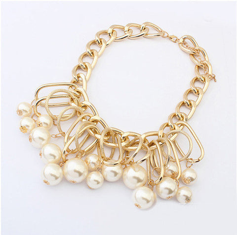 Image of Go Glam Pearl Link Necklace Virtual Glam Shop
